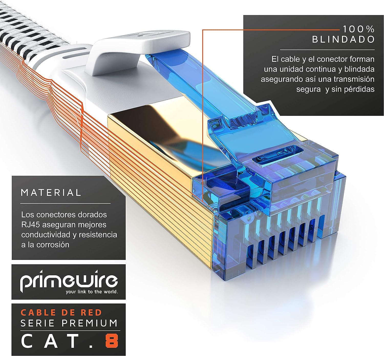 Revestido de Tela 40 Gbits 10m Cable de Red Cat 8 Plano Primewire Cable Gigabit Ethernet LAN 40000 Mbits con Conector RJ 45 Compatible Switch R/úter Modem PC Smart-TV Blindaje U FTP Pimf