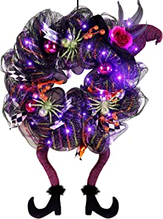 Lulu Home Halloween Wreath, 30 LED Purple Lighted Front Door Wreath with Witch Hat Leg Mesh Decor, Battery Operated Hallow...