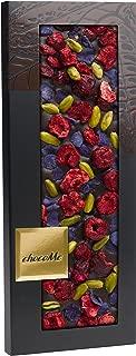 chocolate negro con flores Chocolate negro Valrhona 65% Pistacho de Bronte Trozos de guinda liofilizados Pétalos de violeta cristalizados 110gr, V114