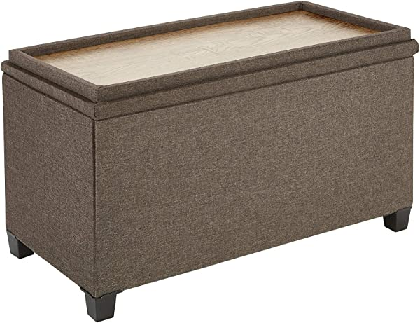 Fresh Home Elements 250089 002 Tray Coffee Table Ottoman With Storage Brown