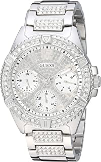 GUESS Stainless Steel Crystal Watch with Day, Date + 24 Hour Military/Int'l Time. Color: Gold-Tone (Model: U1156L1)