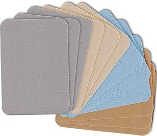 ZEFFFKA Premium Quality Fabric Iron-on Patches Inside & Outside Strongest Glue 100% Cotton Blue Gray Beige Brown Repair De...