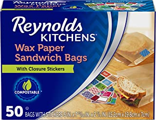 "Reynolds Kitchens Wax Paper Sandwich Bags - 6x7-13/16"", 50Count"