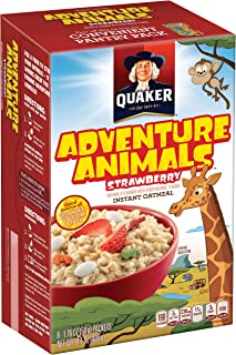 Quaker Instant Oatmeal, Strawberry Adventure Animals, Breakfast Cereal, 8 Packets Per Box (Pack of 12 Boxes)