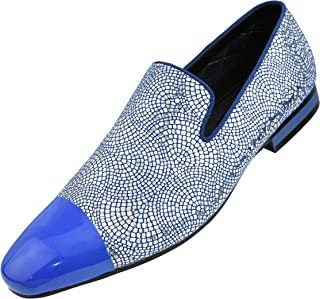 Amali The Original Men's Metallic Lace Patterned Embossed Slip On Loafer with Matching Tip and Heal Dress Shoe, Style Saray