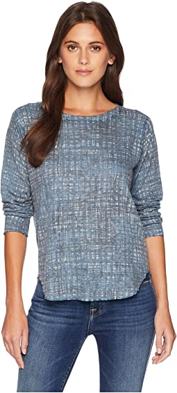 Grid Print Long Sleeve Top