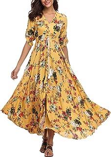 VintageClothing Women's Half Sleeve Boho Maxi Dresses Floral Print Split Beach Party Dress