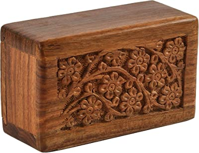 Fine Craft India Tree of Life Design Small Keepsake Decorative Engraved Wooden Visiting Card Box 5x3x2 Inches