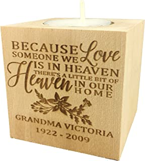 """Wedding Collectibles Personalized Memorial Sympathy Bereavement Candle Holder Custom Engraved Wood Keepsake Ideas for Loved One Tea Light Block (2.5"""")"""