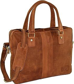 Menzo Aktentasche Jesolo aus echten Leder, für 13 und 15 Zoll Laptop, Businesstasche für Damen und Herren
