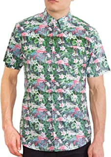 Visive Mens Short Sleeve Button Down Tropical Hawaiian Printed Shirts - Size Small - 4X-Large