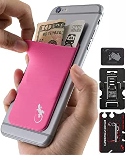 Gecko Mobile Phone Wallet Stick on Pink - Phone Wallet Stick on White Logo - Cellphone Accessories Samsung Phone - Wallet ...
