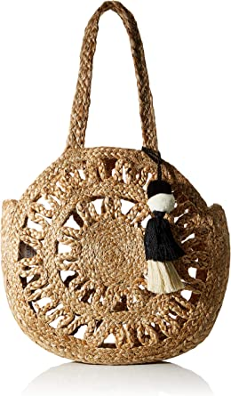 PIECES Womens PCMANI Jute Round Bag Tasche, Nature, ONE SIZE