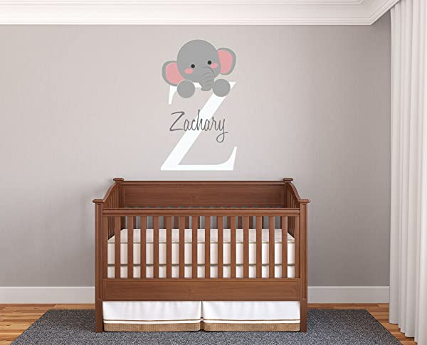 Personalized Name Initial Elephant Prime Series Baby Girl Boy Nursery Wall Decal For Baby Room Decorations Mural Wall Decal Sticker For Home Children S Bedroom MM95 Wide 17 X29 Height