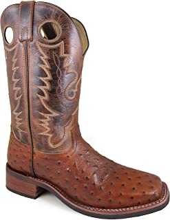Smoky Mountain Men's Danville Pull On Stitched Textured Square Toe Cognac/Brown Crackle Boots 12D