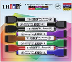 [8 Markers - 6 Colors] Think2 Magnetic Mini Dry Erase Markers with Eraser. (3 Black, 1 Red, 1 Blue, 1 Green, 1 Purple, 1 B...