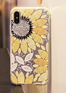 iPhone X Case/iPhone Xs Case,Blingy's Nice Floral Style Clear Protective TPU Rubber Case Compatible for iPhone X and iPhone Xs (Painted Sunflower)