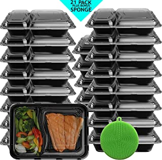 Professional Meal Prep Containers 21 Pack 2 Compartment - Reusable Food Storage - Stackable Leak Resistant Microwave Freezer Dishwasher Safe - 28 Oz- Portion Control - Silicone Sponge Included!