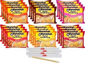 Maruchan Ramen Noodle Soup Variety - 6 Flavors, Pack of 24 with By The Cup Chopsticks