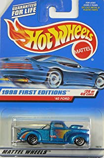Hot Wheels - 1998 First Editions - 1940 Ford Pickup - Die Cast - #20 of 40 Cars - Blue Metallic Paint - Collector #654 - L...