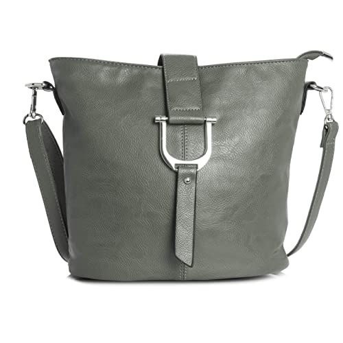 Big Handbag Shop Womens Faux Vegan Leather Bucket Style Cross Body Shoulder  Bag (Dark Grey ccff294d74