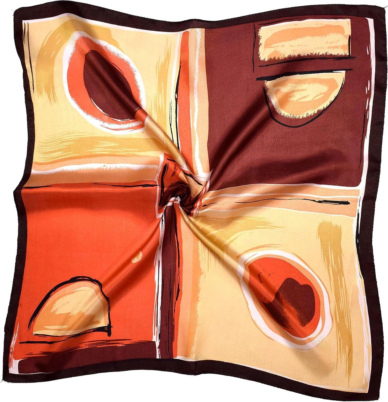 Brown Orange Abstract Printed Small Square Fine Silk Scarf