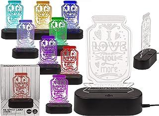 Lámpara de noche 3D con efecto 3D con cambio de color, 20 cm de alto (I Love You More)