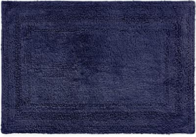 Chaps Home Camden 100% Ringspun Cotton Reversible Non-Slip Bathroom Rug, 21X34, Marine Navy