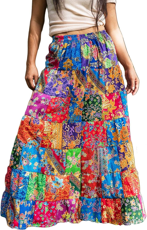 Patchwork Skirt Long Cotton Floral Boho Hippie Maxi Flared Random Multicoloured