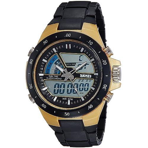SKMEI Mens Digital Watch 50M Waterproof Large Dual Dial Multifunction Analog Military Outdoor Sports Electronic Watch