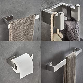 JunSun Square 4-Piece Bathroom Accessory Set (Towel Bar Toilet Paper Holder Robe Hook Towel Holder) Contemporary Bathroom Hardware Accessories Sets Wall Mounted - Stainless Steel Brushed Nickel