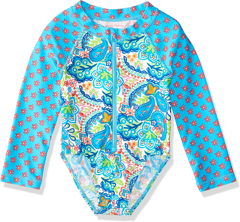 Tommy Bahama Girls' Long Sleeve One Piece Rashguard Swimsuit Bathing Suit