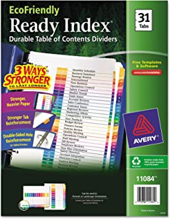 Avery EcoFriendly Ready Index Table of Contents Dividers, 31-Tab Set (11084)