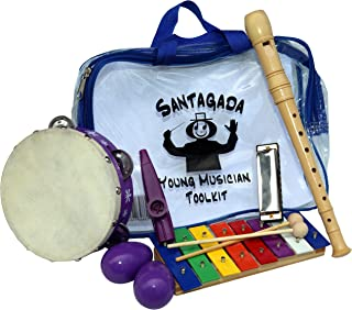 Young Musician Toolkit - Xylophone, Recorder, Tambourine, Harmonica, Kazoo, Two Egg Shakers - Quality Musical Instruments for Kids + Convenient Carrying Case by Santagada