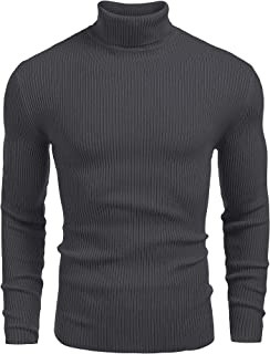 JINIDU Men's Thermal Ribbed Turtleneck Slim Fit Casual Knitted Pullover Sweater