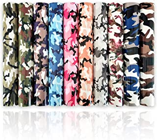 """ZAIONE 10Pcs Camouflage Pattern Printed Heat Transfer Vinyl 11.8"""" x 9.8"""" Sheets Assorted Color Camo Iron-on HTV Craft Film..."""