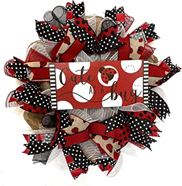 Ladybug Welcome Wreath Everyday Spring or Summer Farmhouse Wreath for Front Door