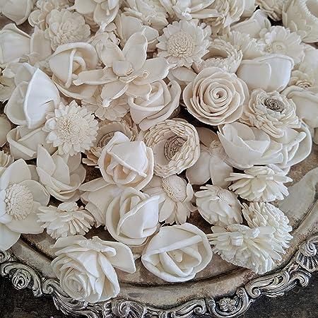 white ivory floral supply Sola Flowers Dahlia shape DIY Wedding bouquet wholesale natural wooden flower rustic folded flower 8cm