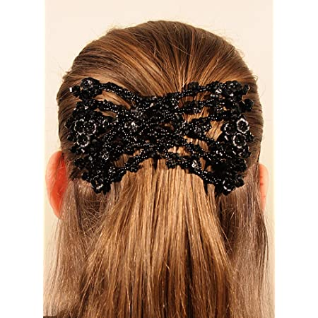 Magic Beads Double Hair Comb Clip Stretchy Flower Crystal Ladies Headdress Party