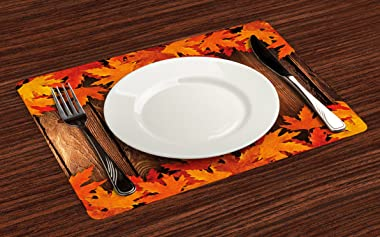 Ambesonne Fall Place Mats Set of 4, Dry Leaves Poured onto Wooden Board Cabin Cottage Rustic Country Life Theme Print, Washab
