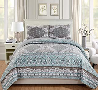 Mk Home 3pc Full/Queen Bedspread Coverlet Set Floral Aqua Blue Grey White Taupe New