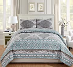 Linen Plus Full/Queen 3pc Over Size Quilted Bedspread Set Floral Aqua Blue Taupe White New