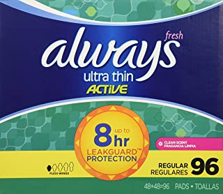 Always Ultra Thin Active Pads, Regular With Flexi-Wings, Clean Scent ,96