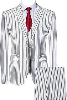 Mens 3 Piece Pinstripe Suit Slim Fit Casual Dress Suits Blazer + Vest + Pants