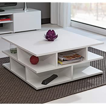 Tavolino da caff/è Bianco Soggiorno HxLxP: 35,5x60x60cm Bianco Tavolino da caff/è Tavolino Moderno Tavolo da Salotto Design da Salotto Tavolino Quadrato Bianco Tavolino truciolare