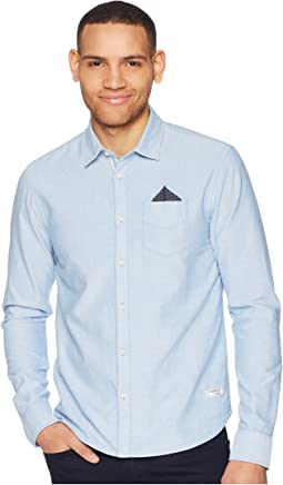 Oxford Shirt with Chest Pocket and Detachable Pocket Square