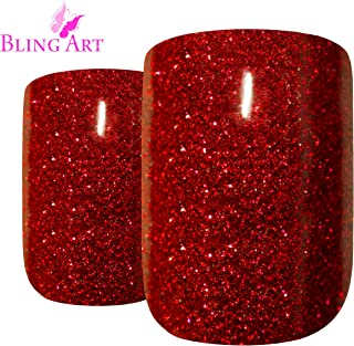 False Nails Bling Art French Fake Red Gel Glitter Squoval 24 Acrylic Medium Tips