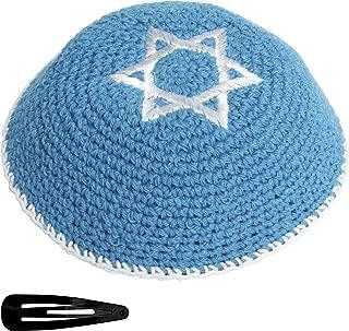 Star Of David Knit Yarmulke Jewish Kippah And Clips Kipa Judaica Yamaka Kippa Yamakah Magen Yarmulka Hat Men Or Kids Israel Jerudalem (Lghit Blue With White Star)