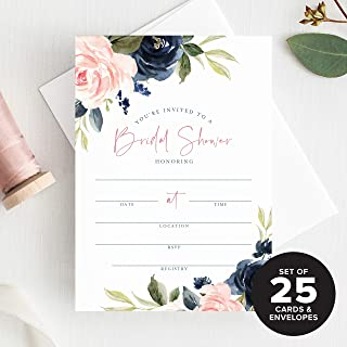 Bliss Collections Bridal Shower Invitations with Envelopes —Navy, Pink, Coral and Greenery Watercolor Floral Fill-in Style Invites, 25 Pack of 5x7 Cards