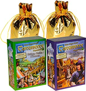 Count, King and Robber Carcassonne Expansion #6 with Bridges, Castles & Bazaars Expansion #8 for Carcassonne Game _ Bonus 2 Gold Metallic Cloth Drawstring Storage Pouches _ Bundled Items